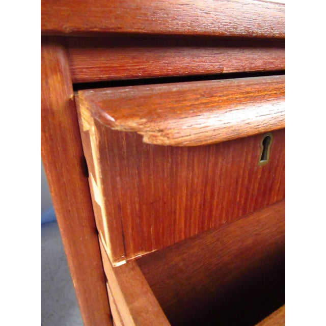 Teak Double-Sided Scandinavian Modern Teak Desk For Sale - Image 7 of 9