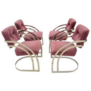 Milo Baughman Style Art Deco Cantilever Chairs - Set of 4