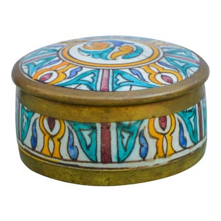 Handmade Moorish Box W/ Brass Inlay For Sale