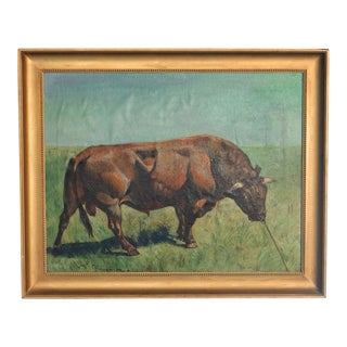 Early 20th Century Antique Gunnar L. Bull in Field Original Oil on Canvas Painting For Sale