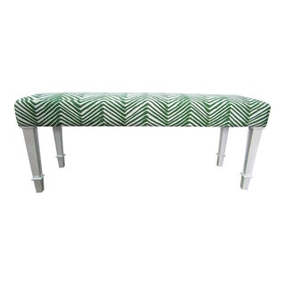 "Green & White ""China Seas "" Upholstery Bench For Sale"