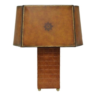 Maitland Smith Shade Tooled Brown Leather & Brass Bouillote Desk Table Lamp Tole