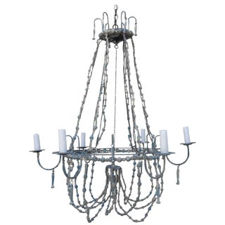 Italian Painted Beaded Chandelier For Sale