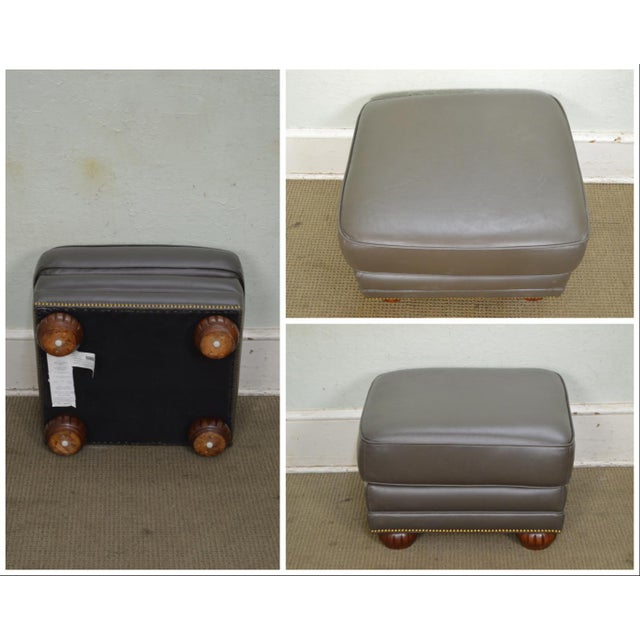Quality Leather Club Chair W/ Ottoman For Sale - Image 4 of 12