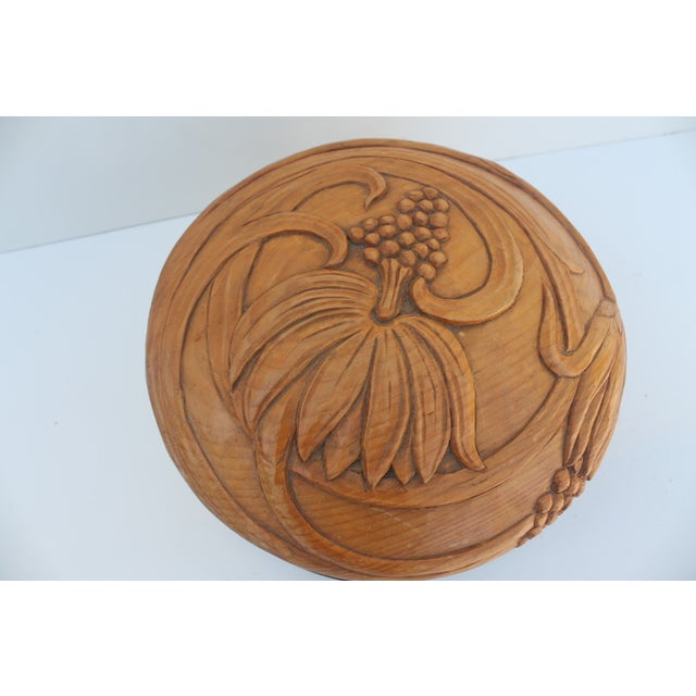 Round Hand-Carved Wood & Brass Box - Image 3 of 8