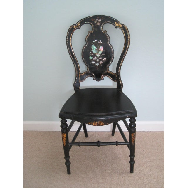 Mid 19th C. Victorian Mother of Pearl Inlay Papier Mache Chair For Sale - Image 11 of 11