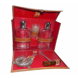 1960's Leather Traveling Bar Set For Sale