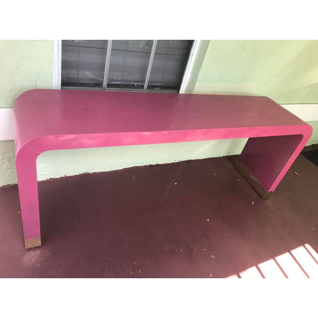 Red 1970s Art Deco Style Pink Waterfall Console For Sale - Image 8 of 8