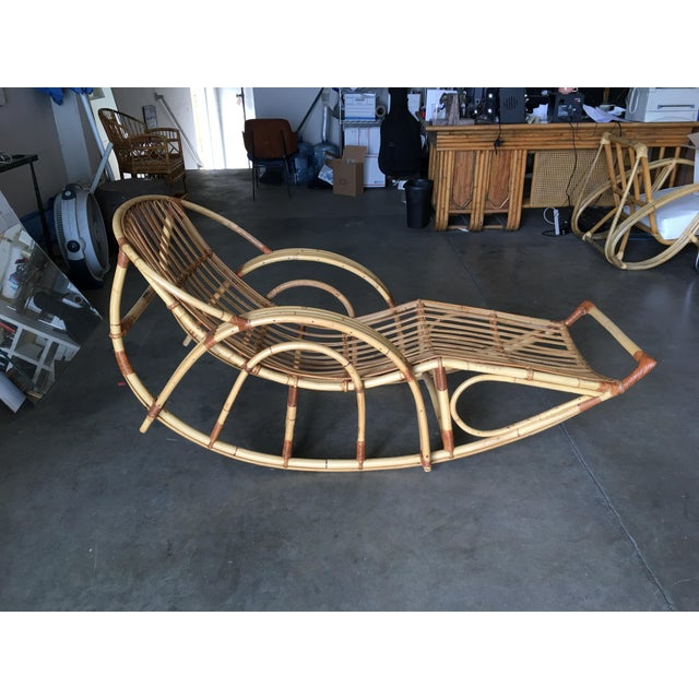 "Restored Franco Albini Style ""Day Dreaming"" Rattan Rocking Lounge Chair For Sale - Image 9 of 9"