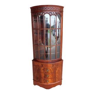 Georgian Mahogany Bow Front Curio China Corner Cabinet For Sale