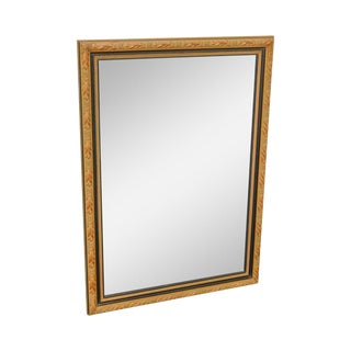 Regency Style Black & Gold Beveled Wall Mirror (A) For Sale