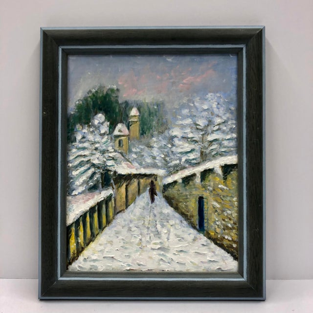 1960s 1960s Small Winter Scene Oil Painting by Genevieve Roberto, Framed For Sale - Image 5 of 5