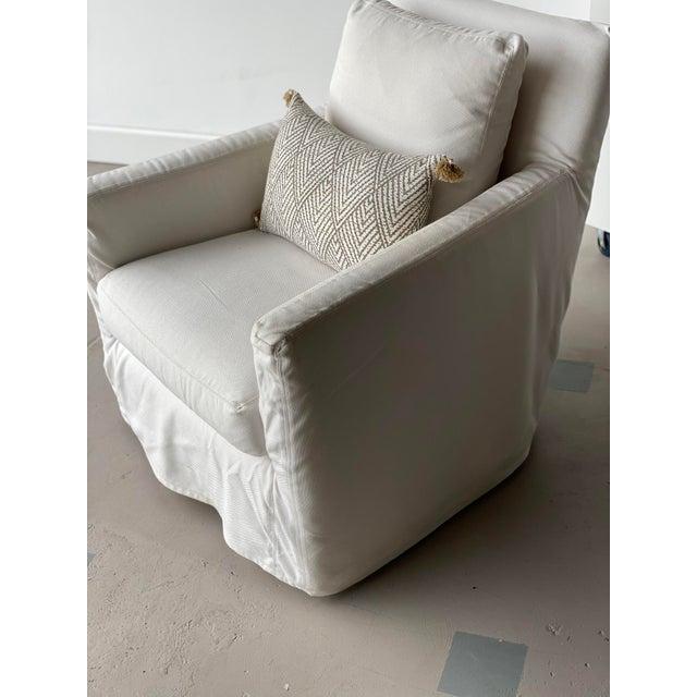 Linen Kapas Slipcovered Swivel Chair For Sale - Image 8 of 10
