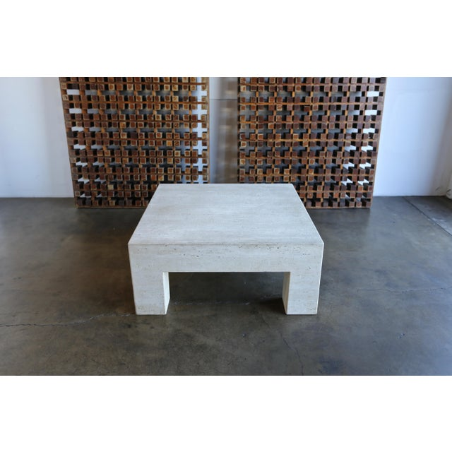 White Travertine Coffee Table For Sale - Image 8 of 9