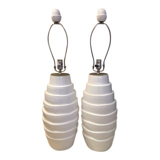 Large White Ceramic Lamps With Matching Finials - a Pair For Sale