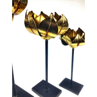 Gold Finish Tall Statement Lotus Design Candle Holders - Set of 3 Preview