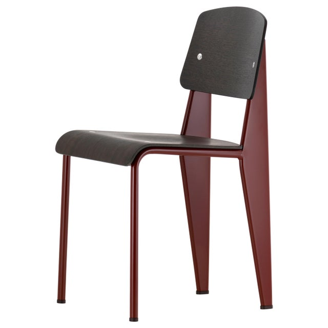 Not Yet Made - Made To Order Jean Prouvé Standard Chair in Dark Oak and Red Metal for Vitra For Sale - Image 5 of 5