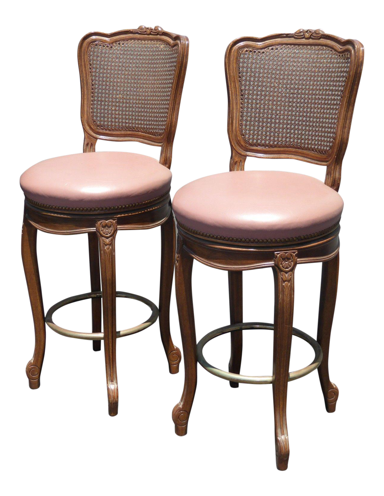 Vintage French Provincial Leather Amp Cane Bar Stools A