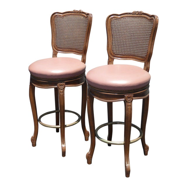 Vintage French Provincial Leather & Cane Bar Stools - A Pair - Image 1 of 11