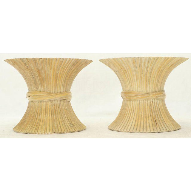 Mid-Century Modern Pair of Sheaf of Bamboo Wheat Side End Occasional Tables Pedestals by McGuire For Sale - Image 3 of 10