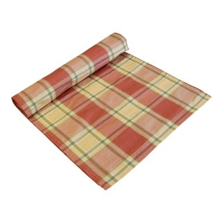 "Custom Designer Farmhouse Country Plaid Table Runner 102"" X 18"" For Sale"