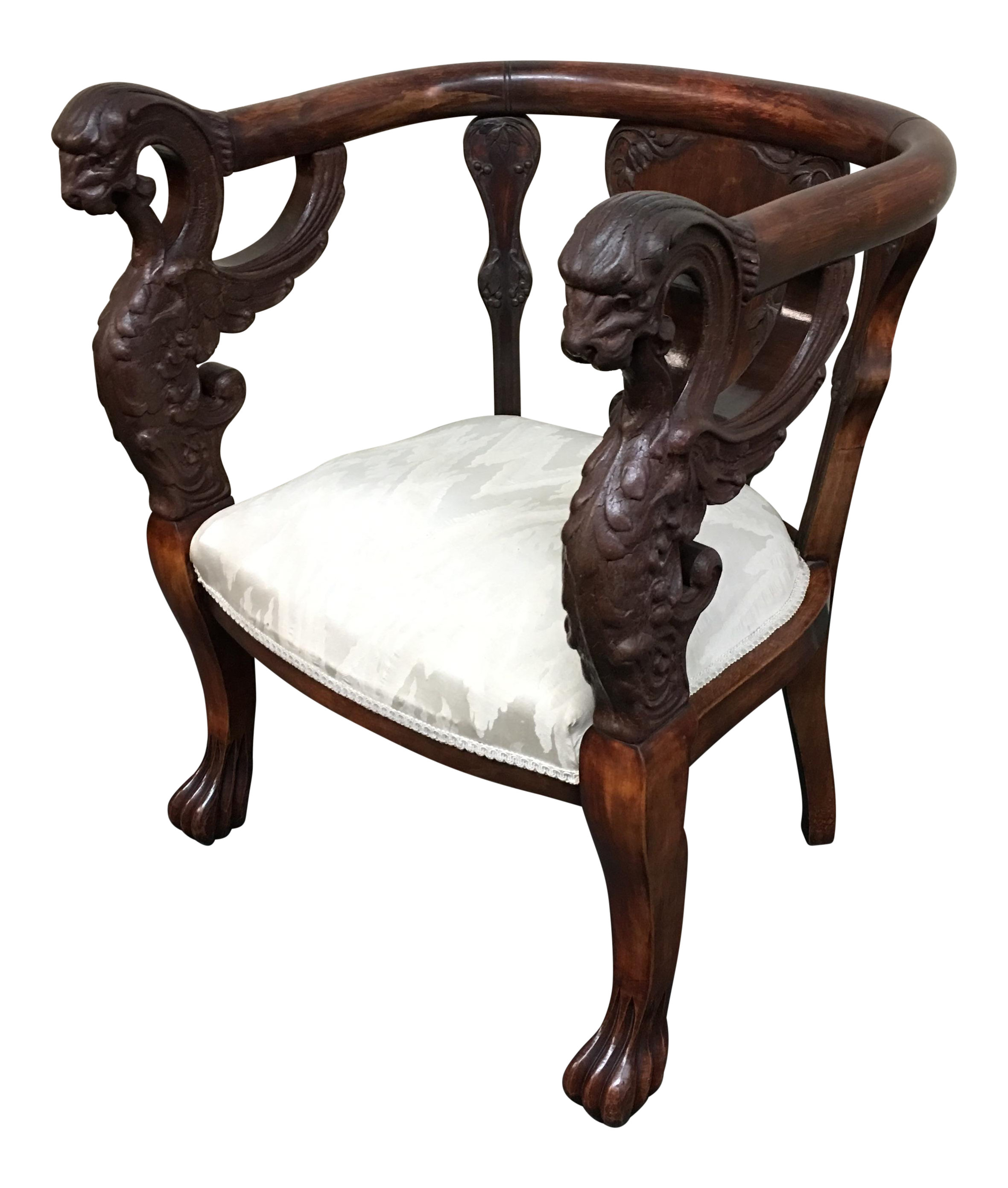 Griffon Carved Victorian Parlor Chair