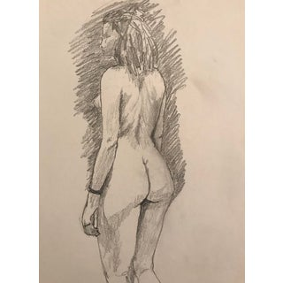 Female Nude Studio Drawing 1970s For Sale