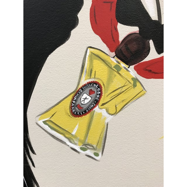 Acrylic hand painted painting on canvas depicting Elsa Schiaparelli Mens Snuff fragrance advertising from a 1940s...