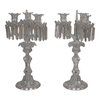 Mid 19th Century Antique Authentic Baccarat Crystal 3 Arm Candelabra- A Pair For Sale