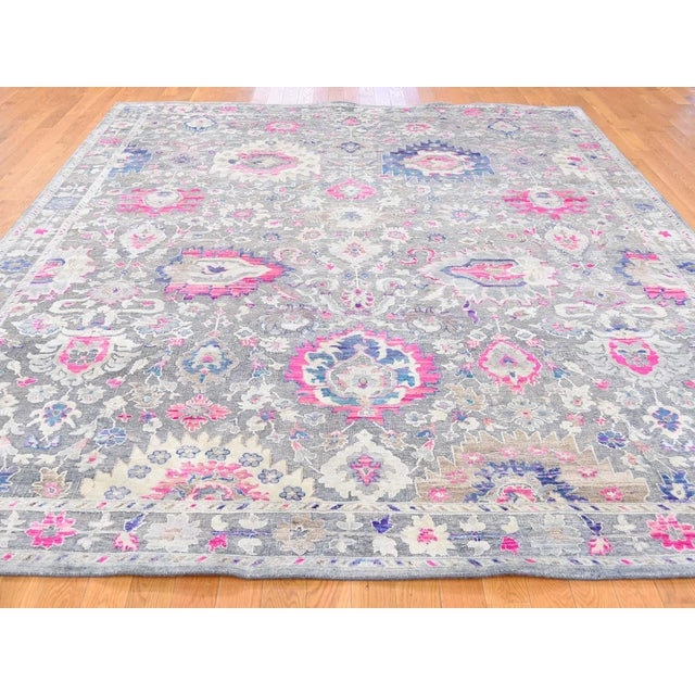 Modern Sari Silk With Oxidized Wool Hand Knotted Oushak Runner- 8′1″ × 10′2″ For Sale - Image 3 of 13