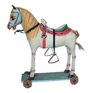 "1950-60s Mexican Folk Art Paper Mache Wood Pull Horse 27""h For Sale"