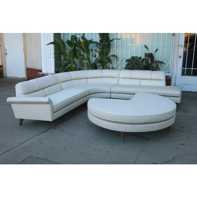 1960s Mid Century Modern 4 Piece Sectional and Ottoman - Set of 4 For Sale In Los Angeles - Image 6 of 10