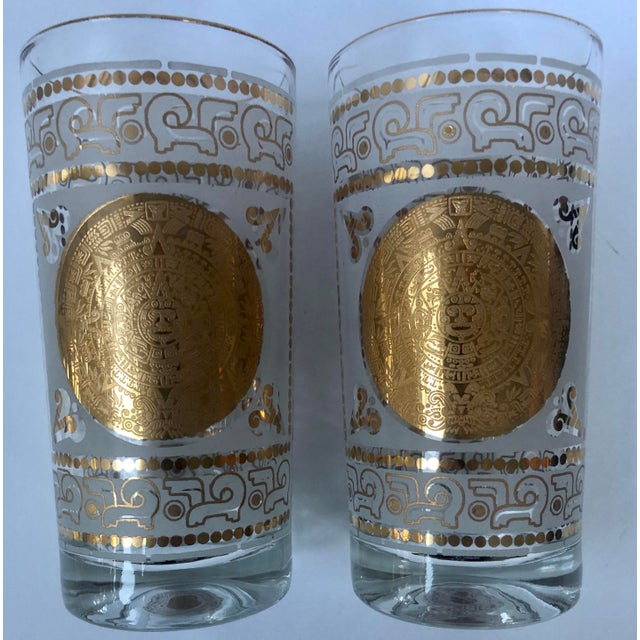 Mid 20th Century Hazel Atlas Frosted and Gilt Aztec Highball Cocktail Glasses - a Pair For Sale - Image 12 of 12