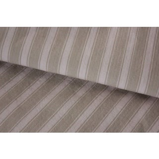 Ticking French Fabric Denim Antique Vintage Textile Neutral Stripes 80x51 Inches For Sale