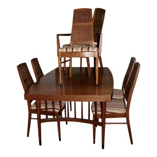 Mid-Century Modern Expandable Dining Table With 6 Cane Back Chairs For Sale