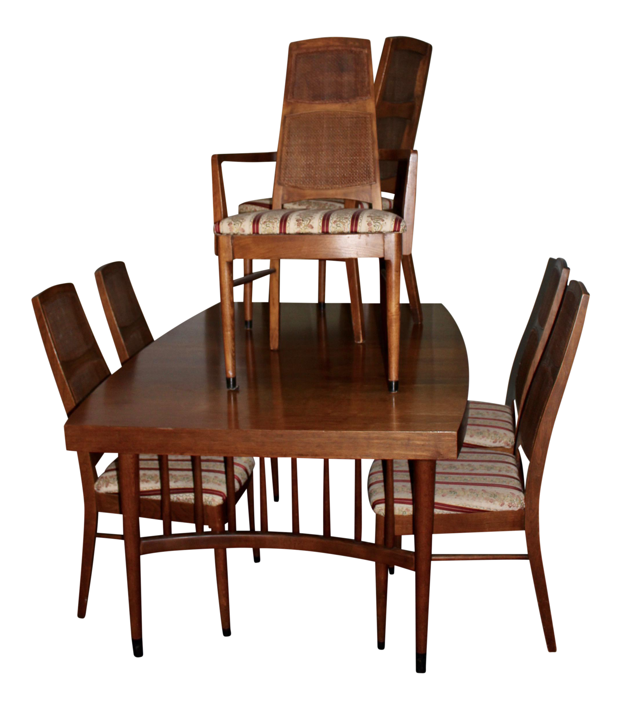 Mid Century Modern Expandable Dining Table With 6 Cane Back Chairs   Image  1 Of