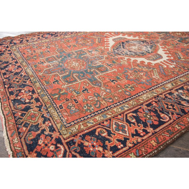 """Antique Heriz Wool Rug- 4'6"""" x 6'3"""" - Image 4 of 7"""