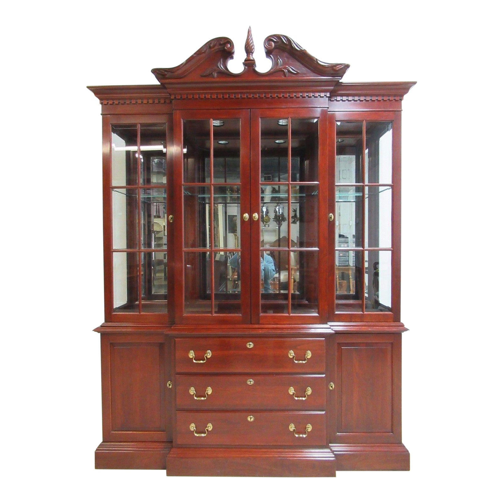Knob creek cherry chippendale breakfront china cabinet hutch chairish