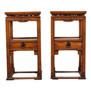 Pair of 18th Century Chinese Cedar Tea Tables For Sale