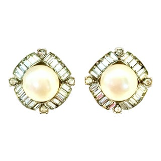 Mid-20th Century Marvella Silver, Faux Pearl & Austrian Crystal Earrings For Sale