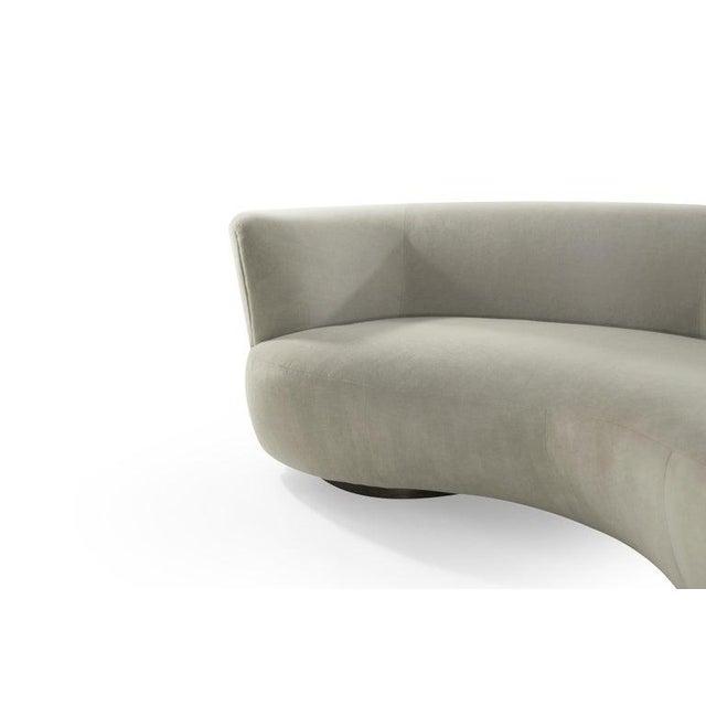 Tan Curved Sofa in Alpaca Velvet by Vladimir Kagan For Sale - Image 8 of 13