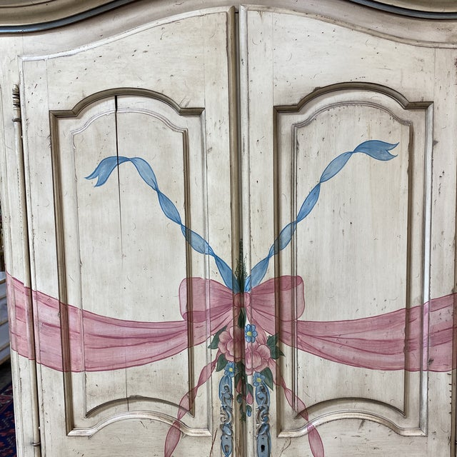 Antique White Custom Hand Made French Armoire For Sale - Image 8 of 13