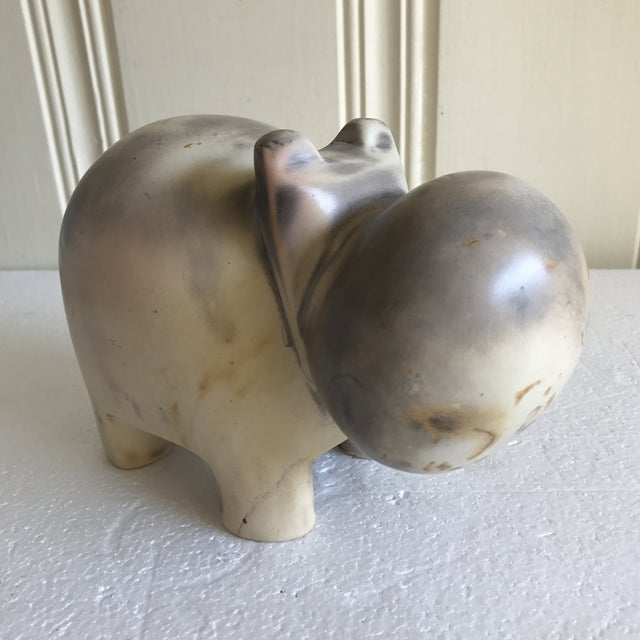 African Stone Carved Hippo Sculpture For Sale - Image 9 of 12