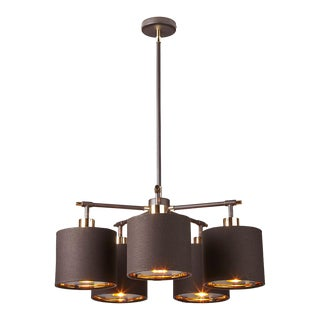 Balance Brown/Polished Brass 5-Light Chandelier For Sale