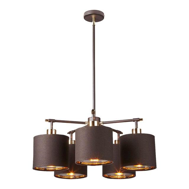 Balance Brown/Polished Brass 5-Light Chandelier For Sale