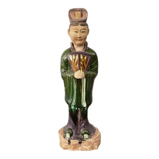 Mid 20th Century Chinese Tang Dynasty Style Sancai Glazed Clay Court Lady Minqi Statue For Sale