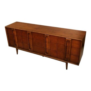 "Mid Century Refinished Walnut Dresser/Credenza/Armoire With 9 Drawers Designed by ""Lane""1960's"