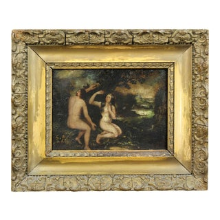 Early 18th Century Framed Oil on Copper Painting of Adam and Eve For Sale