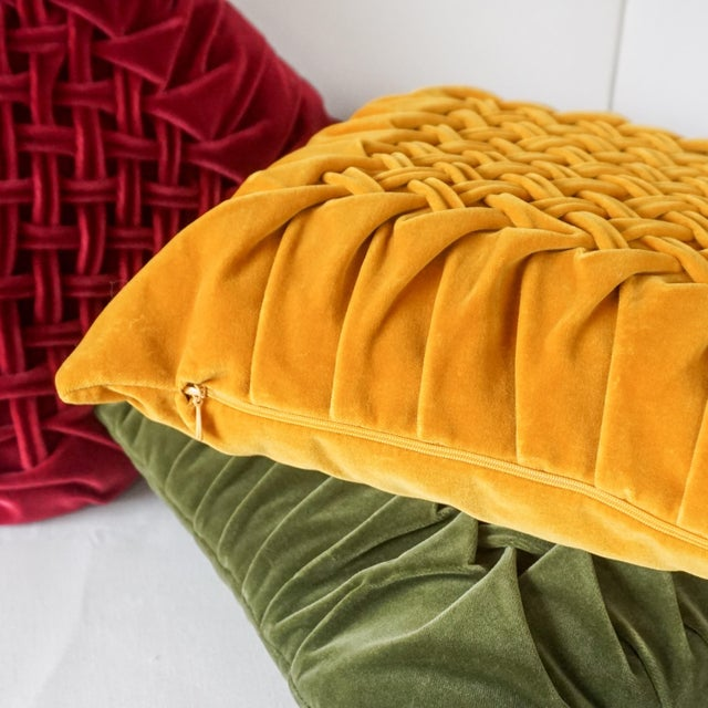 Textile Velour Lattice Pattern Pleated Pillows - Set of 3 For Sale - Image 7 of 9