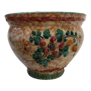 Signed Italian Small Barbotine Art Pottery Planter